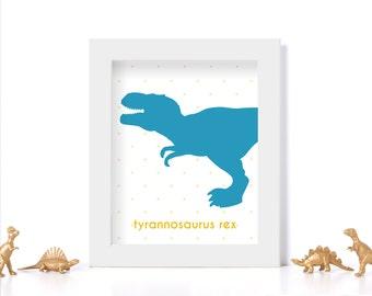 Dinosaur Decor Digital Download Dinosaur Printable Nursery Art Nursery Poster Kids Room Ideas Kids Room Posters Blue and Yellow Printable