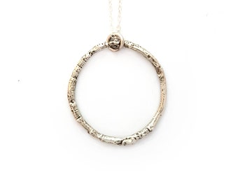 Silver Woodland Circle Necklace - Twig Nature Forest Woods Boho Eternity