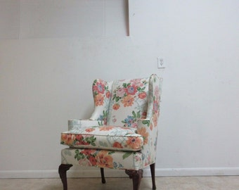Vintage Floral Queen Anne Cherry Wing Lounge Chair