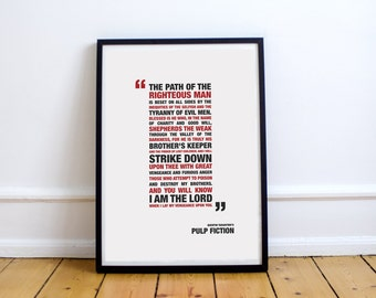 Pulp Fiction - Path Of The Righteous One Custom Minimal Typography Poster