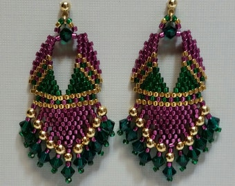Embellished Russian Leaf earrings. with purple, green and gold beads.