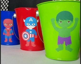 10 Metal Superhero Party Favors, Superhero Favor Pails