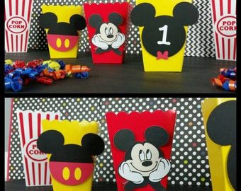 10 Mickey Inspired Snack/Favor Boxes, Mickey Party Popcorn Box,