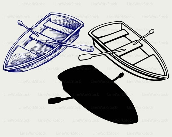 Wooden Boat Svgboat Clipartboat Shelf Silhouettepaddles Cricut Cut Filesboat Clip Artdigital Downloaddesignssvgdxf From LineWorkStock