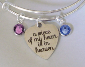 A Piece Of My HEART Charm Bracelet W/ Birthstone Drop / Memorial Bangle  / Lost Of A Love One / Gift For Her - Usa P1