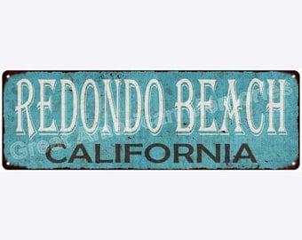 Redondo Beach California Blue Vintage Look Reproduction Metal Sign 6x18 6180331