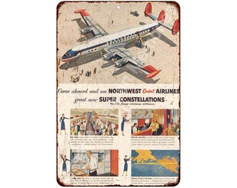 Northwest Airlines Constellation Vintage Look Reproduction Sign 8x12 8120234