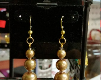 Handmade Gold Pearl Earrings