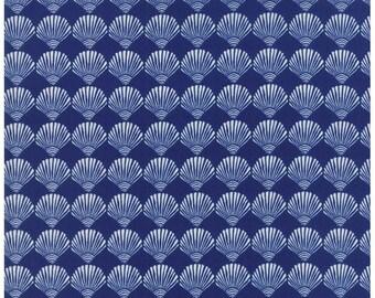 Seaside Scallop Shells Dark Blue - TIDE POOL - by Kate Nelligan for Moda Fabrics - Royal - 24565 13