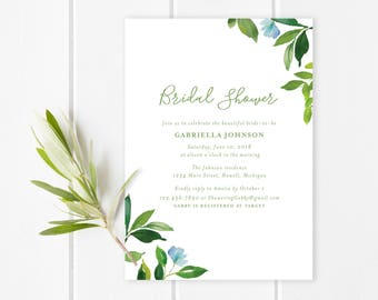 Green foliage Bridal Shower Invitation | Nature inspired bridal shower invitation with lush watercolor green leaves and small blue flowers