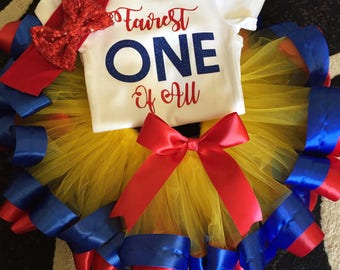 Snow White First Birthday Outfit -- Snow White Tutu -- Fairest One Of All