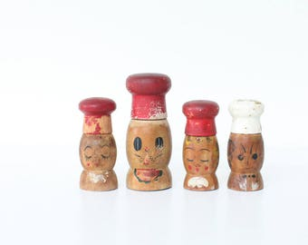 Vintage Wooden Salt and Pepper Shakers, Set of Four
