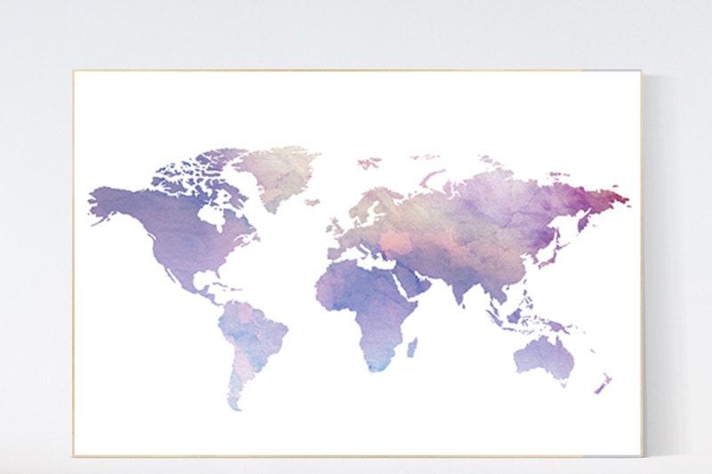 World map poster pastel world map purple wall prints world - Weltkarte basteln ...
