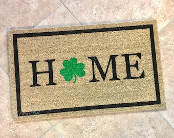 Home Doormat - St Patricks Day Doormat - St Pattys Day Decor - St. Patty's Day - Welcome Mat - New Home Decor - Irish Gift - Shamrock