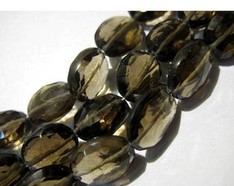 ON SALE 50% Smoky Quartz, Faceted Oval Beads, Nugget Beads - 11x9mm Each - Full Strand 8 Inches - 19 Pieces Approx