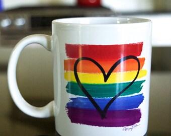 Gay Pride LGBT Rainbow Flag Heart Ceramic Coffee Mug by Mary Ellis 12 Oz Coffee Cup with Original Art
