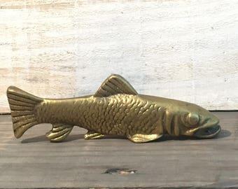 Mid Century Vintage Solid Brass Salmon Fish Sculpture/Sculpture