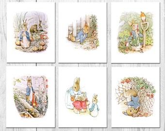 Peter Rabbit Nursery Art, Beatrix Potter Nursery Decor, Peter Rabbit Decor, Nursery Wall Art, Boy or Girl , Set of Three, Instant Download