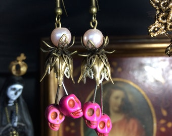 Gothic earrings bronze flowers and pink skulls