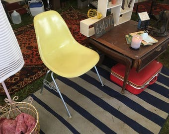 1960's Herman Milller Eames Canary Yellow Fiberglass shell chair with stacking base