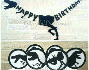 Dinosaur birthday banner, Dinosaur cupcake toppers, Dinosaur party, Jurassic world, Jurassic Park, Dinosaur decor, Jurassic park birthday