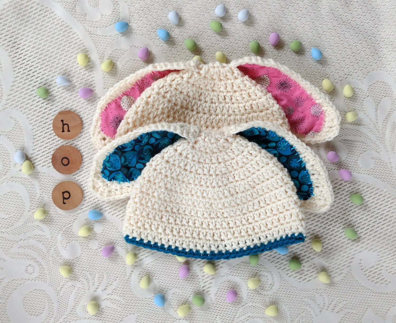 Toddler Easter Hat / Crochet Bunny Hat / Knit Bunny Hat / Blue