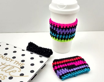 Black with Multi-Neon Colored Crochet Cup Cozy: Coffee/Tea Sleeve    [057]
