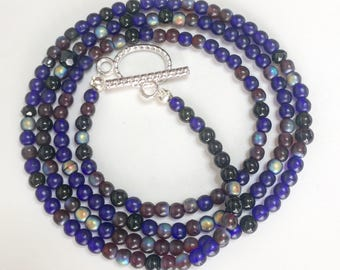 Wrapping bracelet /necklace /lapis/onyx