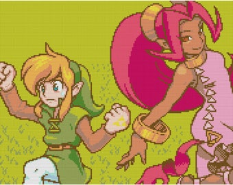 Legend of Zelda Cross Stitch Pattern: Link & Din Dancing