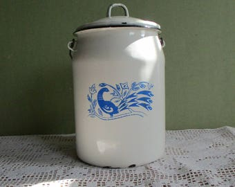 Milk can enamel/ vintage can/ cans for milk/ milk Canister white /metal milk Jar/Enamel Milk Pot
