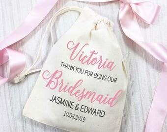 Sacchetto del cotone di damigella d'onore. Sacchetto di nozze personalizzati giorno grazie. Idea regalo di nozze favore.