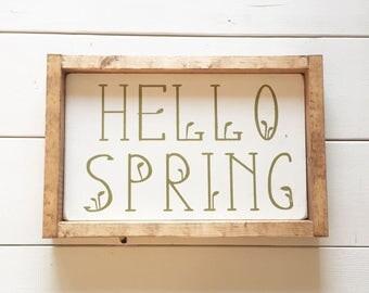 Hello Spring Sign, Spring Decor, Flower Sign, Farmhouse Sign