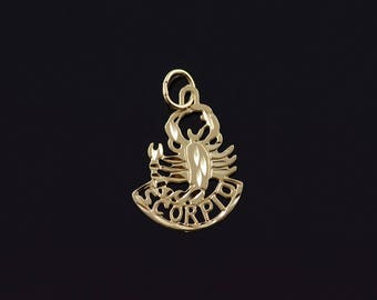 14k Scorpio Scorpion Astrology Cut Out Charm/Pendant Gold
