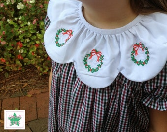 Smocked Christmas Dress, Hand Embroidered Wreath Collar, Girls Dresses