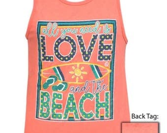 Girlie Girl All you need is love and the beach tank top new
