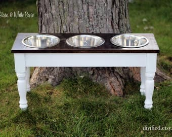 Farmhouse Table Dog Bowl Stand - 3 bowl - Large Breed- Wooden