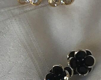 Two sets Swarovski crystal clip earrings