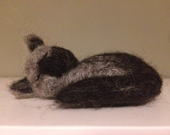 Needle Felted Animal - Sleeping Cat - Ornament in Charcoal and Grey British Wool