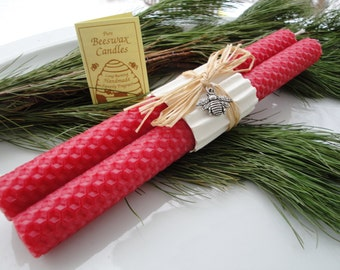 """Hand Rolled Honeycomb Beeswax Taper Candles,  8"""" Pair - Nautical Red, Beeswax Candles, Red Candles, Tapers , Gifts under 20"""