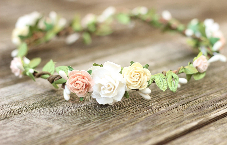Artificial Green Silk Flower Crown Leaf Peach Flower Crown Cream