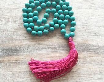 Tassel necklace- bohemian jewelry- beaded tassel necklace- bohemian necklace- beaded necklace- turquoise necklace- gift for women