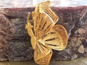 Yellow Gold Butterfly Brooch Pin