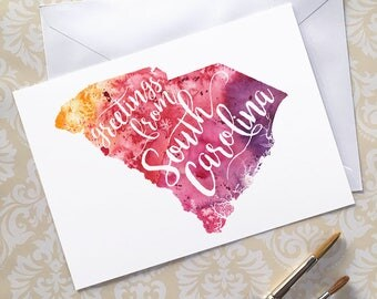 South Carolina Watercolor Map Greeting Card, Greetings from South Carolina Hand Lettered Text, Gift or Postcard, Giclée Print, 5 Colors