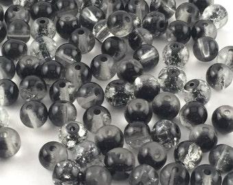 Beads, Glass Beads, Black Beads, Black Glass Beads, 8mm Beads, 8mm Glass Beads, Round Glass Beads