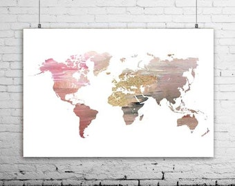 World map print map poster map of the world modern wall