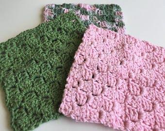 Crochet Textured Dishcloths, Handmade Washcloths, Kitchen Dishcloths, Kitchen Accessory, Housewarming Gift, Gifts for Her