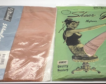 Vintage Nylon Stockings Hoisery St Michael Cedar 9 1/2  20 Denier And Sheer Joy Size 9 15 Denier New In Package