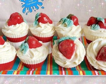 Strawberry Soap Cupcakes/ Soap/ Party Favors/ Handmade Soap/ Cupcakes