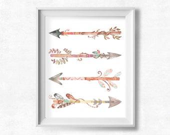 Boho Chic Nursery: Watercolor Feathers and Arrows Printable Art, Girl's Room Arrow Illustration