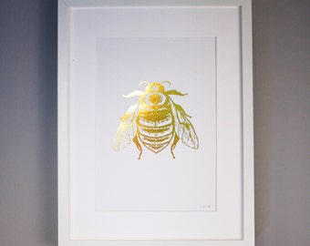 Hand Printed Bee Gold Foil Screen Print -Bee / Insect Design